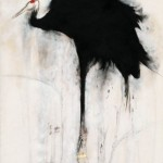 """Wei Qingji, """"Red-crowned Crane,"""" ink and mixed media on rice paper,180× 95cm,2011 魏青吉 """"鹤"""", 宣纸、水墨综合材料, 180× 95cm,2011"""